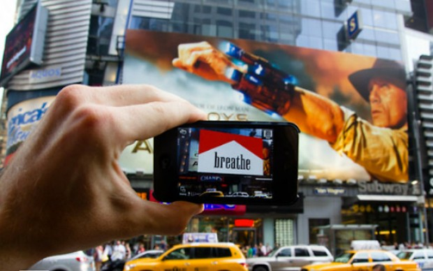 ar times square Augmented reality op Times Square