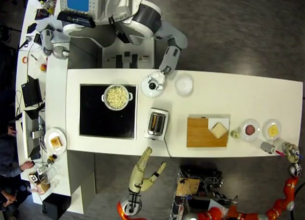 robot popcorn sandwich Robots maken popcorn en sandwiches