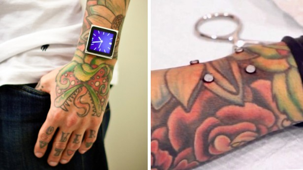 idermal piercing ipod Man piercet magneten in arm