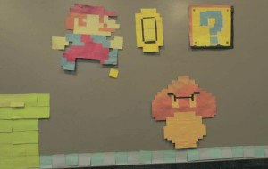 Mario met Post-It notes