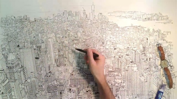 timelapse tekenen Timelapse: tekening van de skyline van NYC