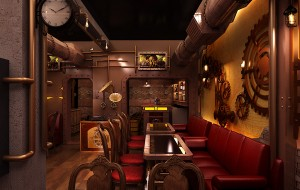 Restaurant in Steampunk-stijl