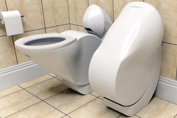 Heb je een kleine badkamer dit toilet klapt zichzelf in na gebruik - Kleine badkamer wc ...