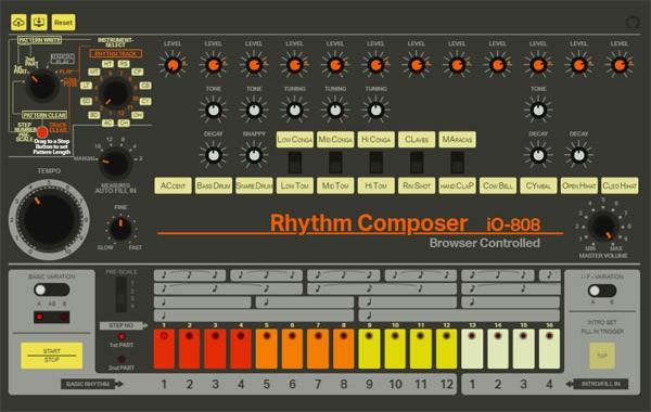 De legendarische TR-808 drumcomputer in je browser