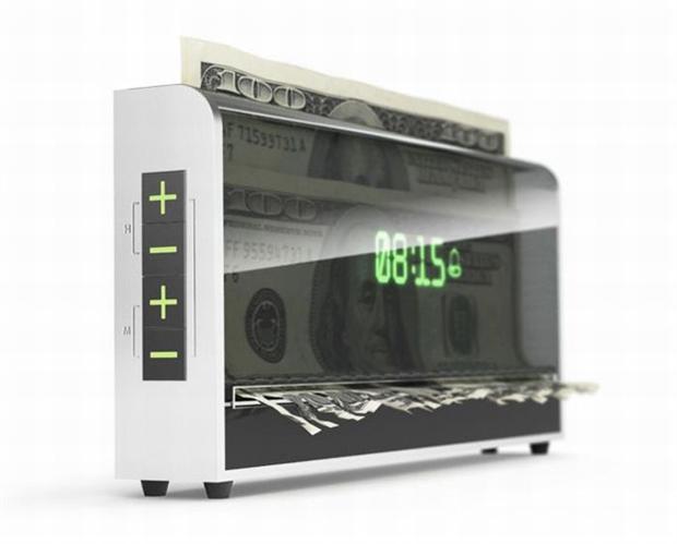 Wekker die geld vernietigt