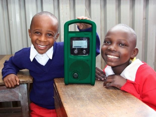 Opwindbare MP3-speler voor ontwikkelingslanden