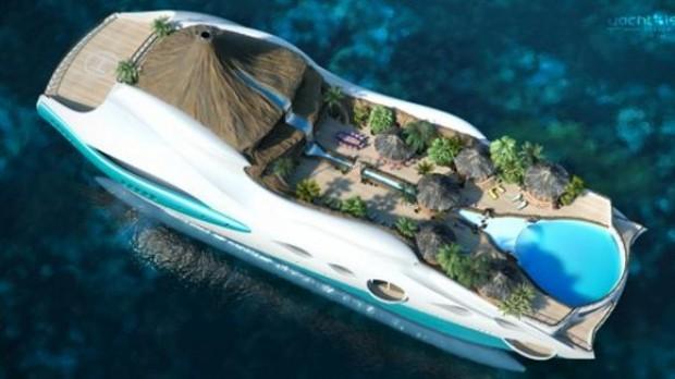 Varend eiland is van alle gemakken voorzien