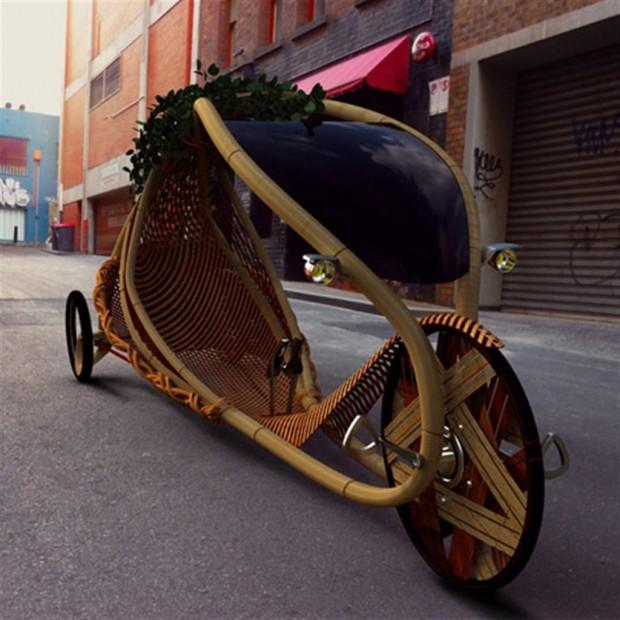 's Werelds eerste voertuig van bamboe