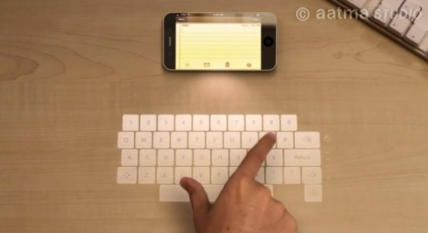 iPhone 5 met laser-keyboard en holografisch display