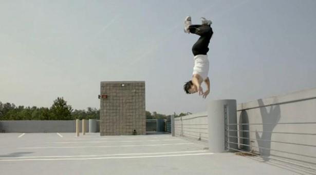 Stuntman in slow-motion