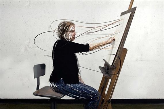 Digitale portretten van versnipperde mensen