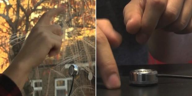 Microfoon maakt van elk oppervlakte een touchscreen