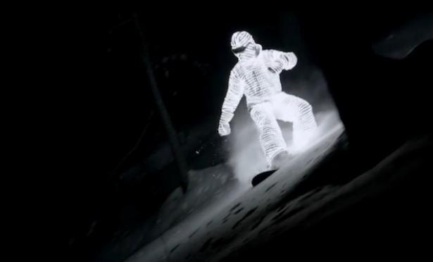 Nachtelijk snowboarden met LED-pak