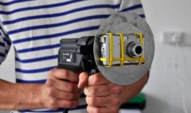 Camera op drilboor schiet onwerkelijke video