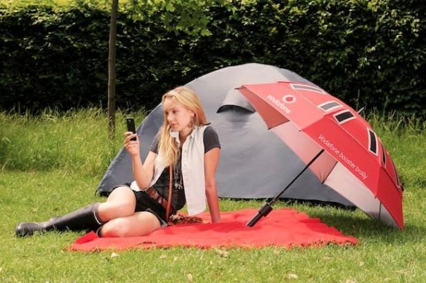 Paraplu laadt smartphones op
