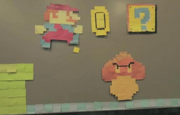 Mario met Post-It notes