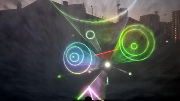 3D-animatie op een scherm van water
