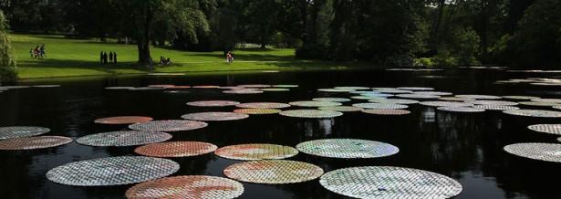 Kunstenaar maakt waterlelies van 65.000 cd's
