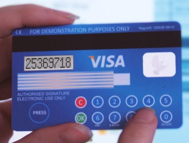 Creditcards met ingebouwd display en toetsenbord
