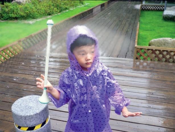 Onzichtbare paraplu houdt je droog met lucht