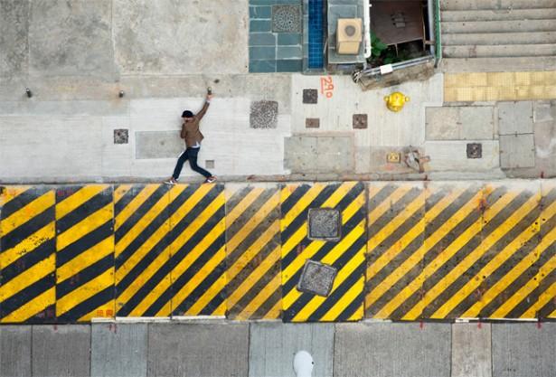 De straten van Hong Kong als computerspel