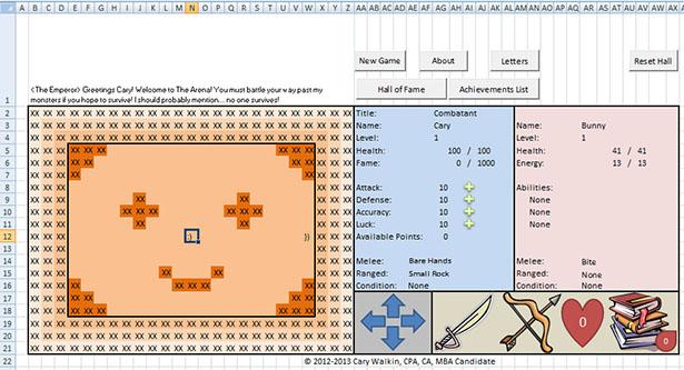 Creatieve accountant maakt een RPG in Excel