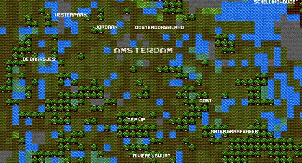 Grote steden als 8-bit Google Maps