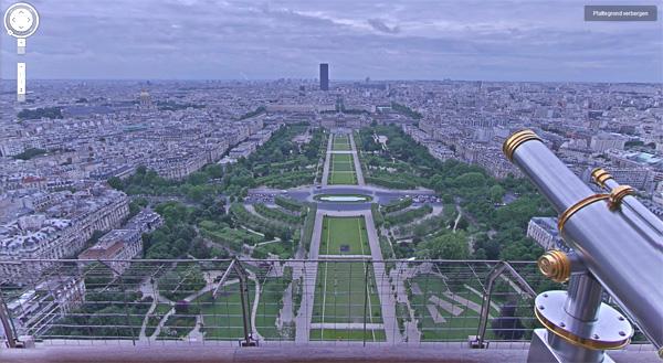 Ook de Eiffeltoren is te zien Google Street View