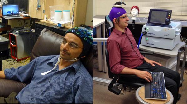 Wetenschapper bestuurt hand van collega met zijn hersenen, via het internet
