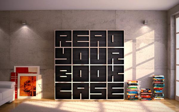 ABC: hippe boekenkast met letters als planken