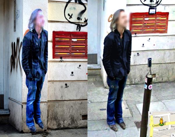Kunstenaar knipt mensen uit Google Street View en plakt ze in de echte wereld