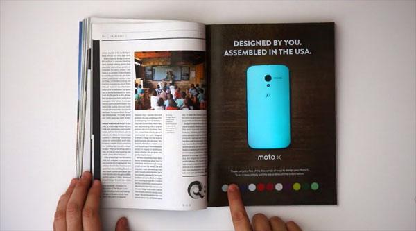 Deze analoge advertentie voor de Moto X heeft digitale features