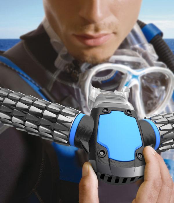 De Triton Oxygen Respirator voorziet duikers van een set kunstmatige kieuwen