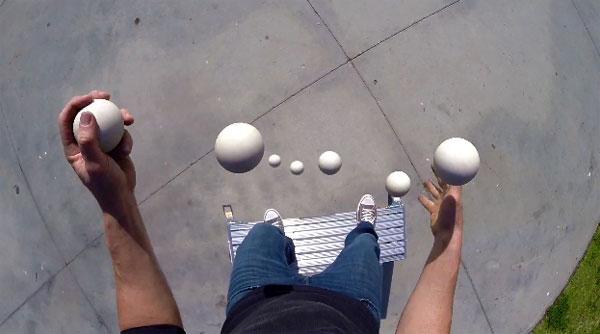 Jongleren met een GoPro camera