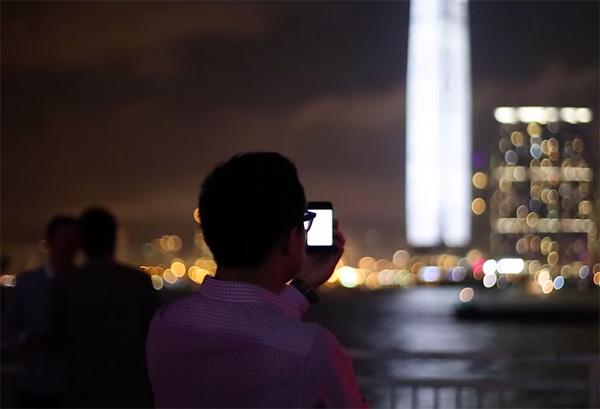 Het hoogste gebouw van Hong Kong als intrigerende lichtshow