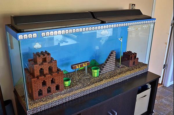 Een aquarium in de stijl van Super Mario