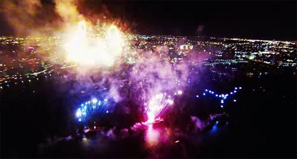 Met een drone kun je op prachtige wijze vuurwerkshows filmen