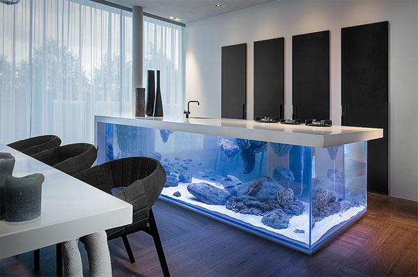 Ocean: de magnifieke combinatie van een keuken en een aquarium