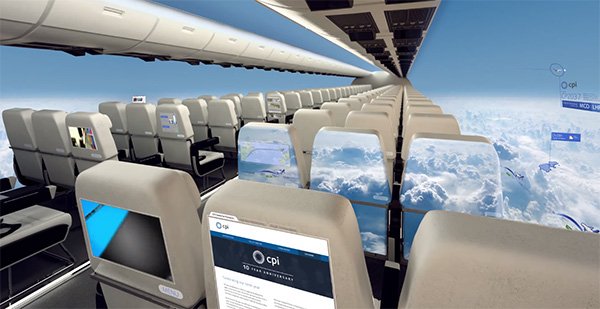 Het vliegtuig van de toekomst heeft geen ramen