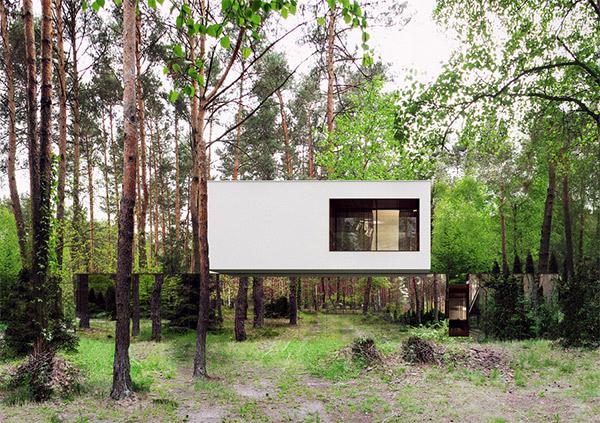 Dankzij spiegels lijkt dit huis te verdwijnen in het bos