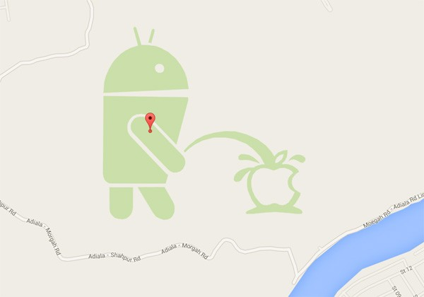 Huh: Google plast op Apple in Google Maps