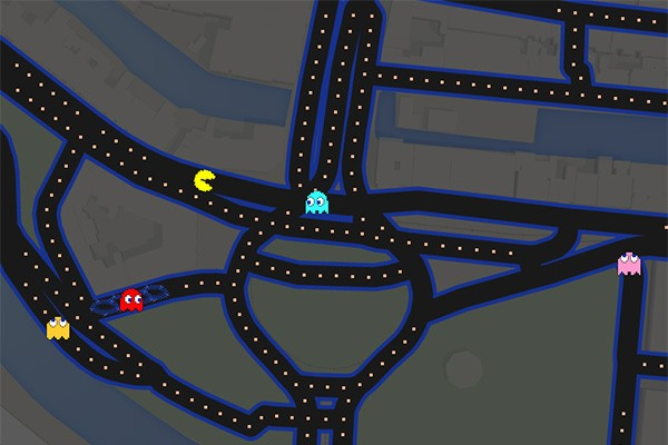 In Google Maps kun je nu Pac-Man spelen