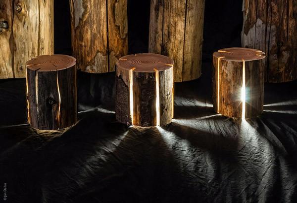 Natuurlijk design op zijn best: lichtgevende blokken hout