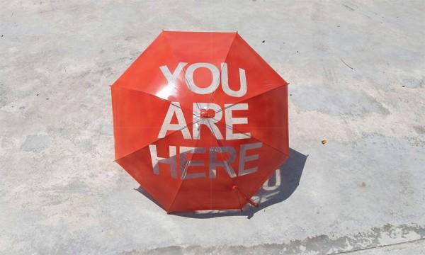 You Are Here: de paraplu die je eraan herinnert waar je bent
