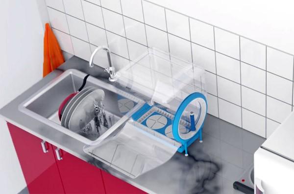 Deze kleine afwasmachine gebruikt geen elektriciteit en weinig water