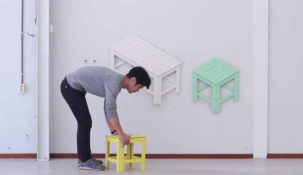 Deze geweldige meubels kun je opvouwen en ophangen als kunst