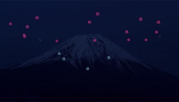 Drones geven een mooie lichtshow weg voor Mount Fuji