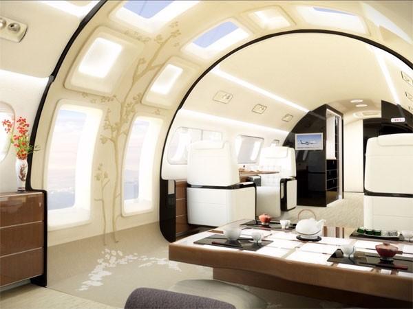 Superluxe privéjet laat je door ramen naar boven kijken