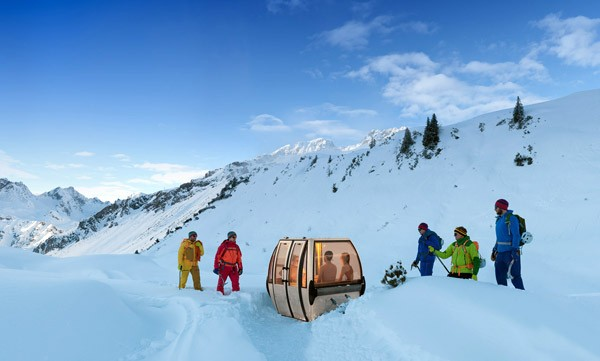 De Saunagondel is een tot sauna omgebouwde skilift