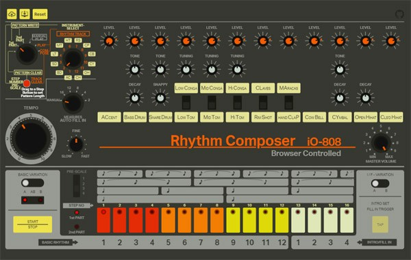 De legendarische TR-808 drumcomputer in je browser